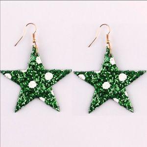 Green Holiday Polka Dot Star Earrings